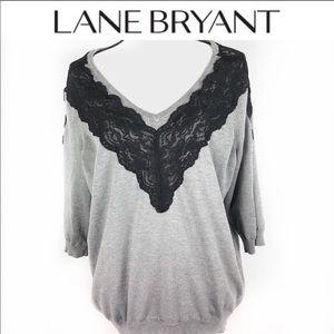 Lane Bryant lace 3/4 sleeve v neck sweater size 24